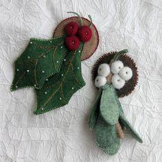 felt holly & mistletoe brooches