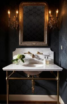 love this mirror and the black walls
