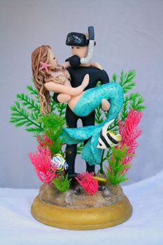Mermaid and Scuba Diver Wedding Cake Topper by CrimsonMuse on Etsy #scubadiver