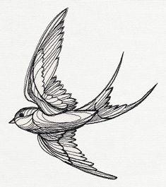Swallow Tattoo Design, Swallow Bird Tattoos, Tattoo Bird, Hummingbird Tattoo, Trendy Tattoos, Unique Tattoos, New Tattoos, Bird Drawings, Tattoo Drawings