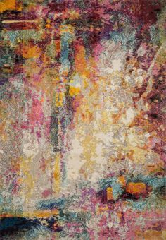 Loloi II Nadia Collection Vintage Distressed Abstract Area Rug x Multi Watercolor Rug, Polypropylene Rugs, Power Loom, Modern Rugs, Colorful Rugs, Vintage World Maps, Area Rugs, Artwork, Runners