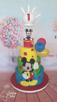 Mickey Mouse and Balloons Birthday Cake – birthdaycakeideas Bolo Do Mickey Mouse, Mickey Mouse Birthday Cake, Mickey Cakes, Minnie Mouse Cake, Balloon Birthday Cakes, Cake Decorating For Beginners, Baking Business, Just Cakes, Savoury Cake