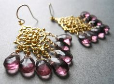 """These are rich and elegant detailed chandeliers that are 18K gold plated over 925 sterling. They are very sturdy and although they are delicate looking they are nice and solid. A true heirloom. I paired them with beautiful plum faceted pear cut quartz that are so beautiful and reflective. Just look at what happens to them in the light. Gold Filled French earwires, but if you prefer leverback just choose the upgrade .The entire length of the earrings are apprx 2.25""""."""