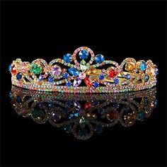FUMUD Vintage Multicolor Rhinestone Bridal Tiara Fashion Golden Diadem for Women Wedding dress Hair jewelry Princess Crown accessorie Style2 ** Learn more by visiting the image link.Note:It is affiliate link to Amazon.