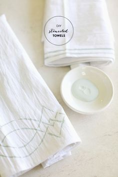 DIY Stenciled Towels  Read more - http://www.stylemepretty.com/living/2013/05/28/diy-stenciled-towels/