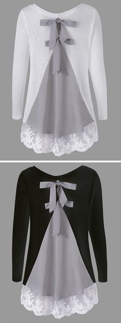 It's features color block,bowknot in the back,paired with comfortable material. This top also features lace panel,round neck,long sleeve. Diy Fashion, Fashion Outfits, Womens Fashion, Refashion, Diy Clothes, Fall Outfits, Style Me, Style Inspiration, Free Shipping
