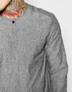 Image 3 of ASOS Collarless Shirt In Grey Textured Fabric In Regular Fit