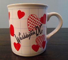 Vintage Washington DC Heart Love Ceramic Coffee Cup Mug Half Heart Handle…
