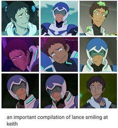 Lance's smiles toward Keith.