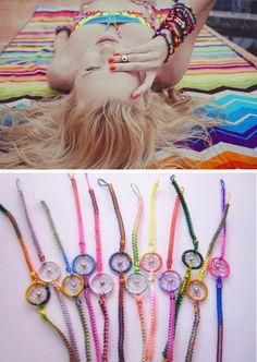 Could we only be so cool lol @haileyxrae   summer-inspiration-friendship-bracelets- mini dream catcher bracelets