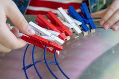 The Easiest DIY Fourth of July Clothespin Wreath You'll Ever Make - The Krazy Coupon Lady Flag Wreath, Patriotic Wreath, Patriotic Crafts, July Crafts, Summer Crafts, Holiday Crafts, Diy And Crafts, Kids Crafts, Fourth Of July Decor