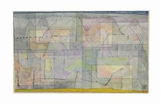 Artwork by Paul Klee, Siedelung im Hügelland, Made of watercolor and pen and ink on linen laid down on the artist's mount 1930