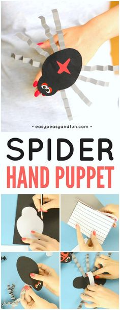 Spider Hand Puppet Paper Craft for Kids with Printable Template