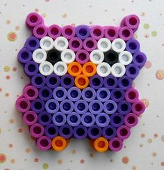 Baby Owl Handcrafted from Perler Beads by Debbie's Craft Corner -www.debbiescraftcorner.com