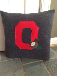 Upcycled Ohio State Buckeyes Block O Pillow on Etsy, $22.50