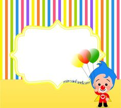 plim-plim-marcos-infantiles-imagenes-de-plim-plim-cumpleanos-tarjetas-plim-plim-invitaciones-plim-plim-fiesta-cumpleanos 1st Birthday Parties, 3rd Birthday, Happy Birthday, Birthday Ideas, Unique Baby Shower Themes, Clown Party, Baby Party, Yazoo, Birthdays
