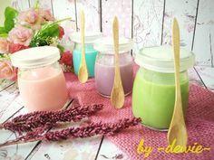 Silky Puding a la Puyo Dessert (Blue Lychee, Purple Taro, Greentea, Pink Rose)