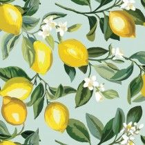 Light Blue and Yellow Lemon Peel and Stick Wallpaper by World Market Wallpaper Roll, Peel And Stick Wallpaper, Gray Wallpaper, World Market Store, Design Repeats, Lemon Print, Bathroom Wallpaper, Mellow Yellow, Bright Yellow