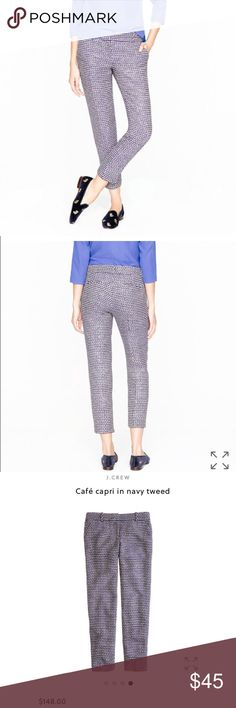 J. Crew Cafe Capri Pants in Navy Tweed LIKE NEW J. Crew Cafe Capri Pants in Navy Tweed LIKE NEW // Size: 4 // I offer 15% off on 2 or more-item bundles and I have A LOT of luxury clothing, shoes and jewelry at affordable prices so definitely check out the rest of my closet. // I ship same-day from pet/smoke-free home. Buy with confidence. I am a top seller here for a reason.  J. Crew Pants Ankle & Cropped
