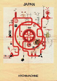 """Galeria - ARCHIMACHINE: 17 países ilustrados como """"máquinas arquitetônicas"""" - 151"""