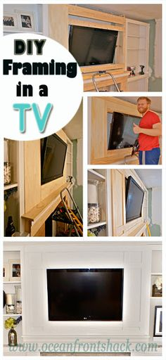 Incredible DIY framing and molding for a tv mounted over the fireplace!