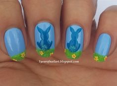 Bunnies and velvet - Nail Art