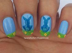 Bunnies and velvet - Nail Art