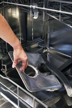 How often do you clean your dishwasher? I'll confess that I don't clean mine nearly often enough! I wash dishes in it daily, so surely it's getting clean at the same time, right? Diy Dishwasher Cleaner, Dishwasher Cleaning Tips, Dishwasher Filter, Baking Soda Cleaning, Diy Home Cleaning, Cleaning Appliances, Cleaning Items, Household Cleaning Tips, Clean Dishwasher