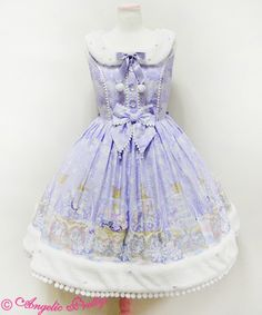Angelic Pretty - Sugar Dream Dome Fur Collar JSK in Lavender with headbow and OTKs