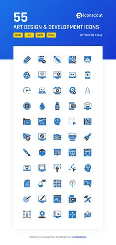 Art Design & Development  Icon Pack - 55 Flat Icons Download Art, Security Logo, Flat Icons, Png Icons, Vector Format, More Icon, Icon Pack, Icon Font, Art Design