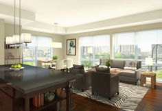 Floor to ceiling windows allow the sun to flow through and thrilling views of the downtown skyline.