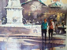 Iain Stewart Watercolors  Detail of yesterday's demo