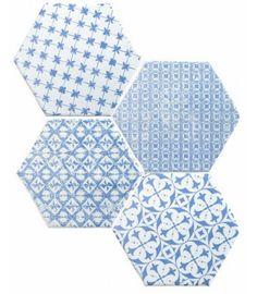 Hexagon Marrakech Mosaic Azul F/Bla 15x15cm.