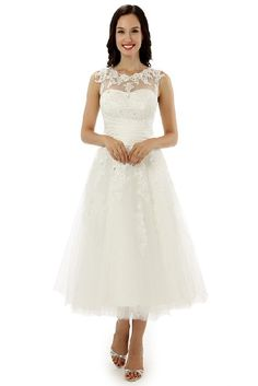 dd8266324778 Engerla Women s Lacey Neckline Beading Empire Line Tea Length Wedding Dress   Amazon.co.uk  Clothing