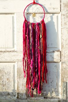 Bohemian Gypsy Dreamcatcher Red Hot Pink Fair Trade Hippie Native Ethnic Wall Hanging by Studio Yuki