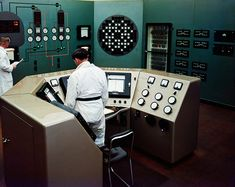 Inside Windscale reactor control room.