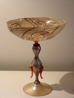 """Murano. Contemporary """"alzata"""" goblet with silver leaf."""