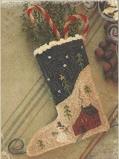 Primitive Folk Art Punchneedle Pattern:  SILENT NIGHT