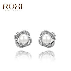 2017 ROXI Brand Milky Pearls Crystal Stud Earrings Rose Gold Color Wedding Beads Jewelry For Romantic Mother's Gifts