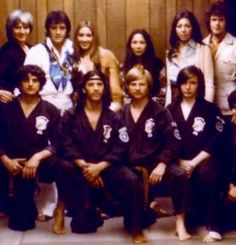 At Ed Parker's Kenpo Karate school in Pasadena, California sometime in 1973 (Backrow: Ed Parker, Elvis, Linda Thompson, Jerry's wife, Patti Parry, and Jerry Schilling (Backroll)