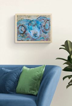 Blue Ram Painting by Caroline Skinner Art. This beautiful textured painting of a gorgeous blue ram looks so tactile you may need a Do Not Touch sign. Optional sustainable wood frame available. Click to see more. Sheep Paintings, Animal Paintings, Texture Board, Dining Room Blue, Textured Painting, Artwork Online, Wood Tray, Farm Yard, Country Kitchen