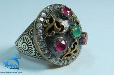 انگشتر طرح چند نگین یاقوت سرخ و زمرد دایره ای سبک عثمانی Cuff Bracelets, Jewelry, Fashion, Moda, Jewels, Fashion Styles, Schmuck, Jewerly, Jewelery