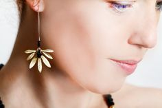 Large Statement Earrings Spring trends  Gold Black Jewelry Long Gold Dangle Earrings  Hammered Gold Gift Ideas Fashion Jewelry Promo by ELITALSHOP from Ecommmax. Find it now at http://ift.tt/1SWBRDv!
