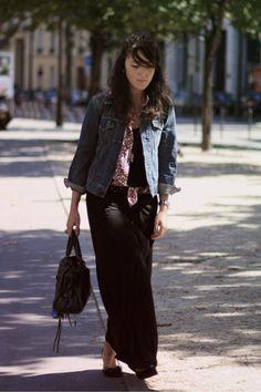 denim jacket and long skirt