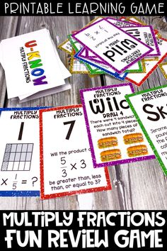 This multiply fractions fun review game is a great activity for distance learning.  This low prep printable game can be used at home because it is easy to learn and can be played over and over!  Students will love learning and reviewing multiplying fractions with this fun and engaging review game.  Students will practice multiplying fractions by fractions and fractions by whole numbers.