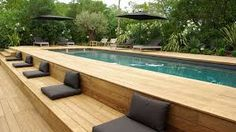 Image result for out door wooden pool designs