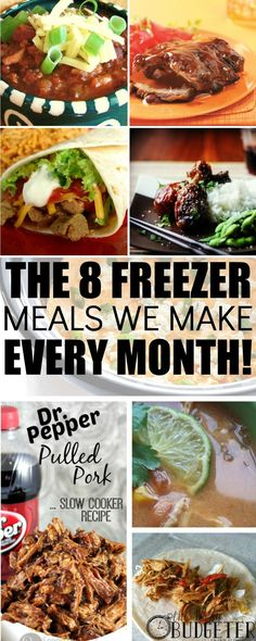 The best freezer to slow cooker meals! The 8 Freezer Meals We Make Every Month. BEST PIN EVER! I've Made all of these and my family loved every one! I love freezer cooking and we struggle to find th (Crockpot Recipes Make Ahead) Freezer Friendly Meals, Slow Cooker Freezer Meals, Freezer Cooking, Crock Pot Cooking, Slow Cooker Recipes, Crockpot Recipes, Cooking Recipes, Healthy Recipes, Freezer Recipes