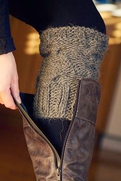 Long Leather Boots With Sweater Sleeve. #fall #must