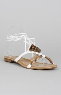 AwesomeNice Shully's SK0256JB Leather Gladiator Tie Around Sandals - White PU