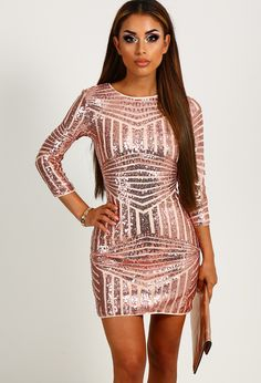 Nina Rose Gold Sequin Mini Dress